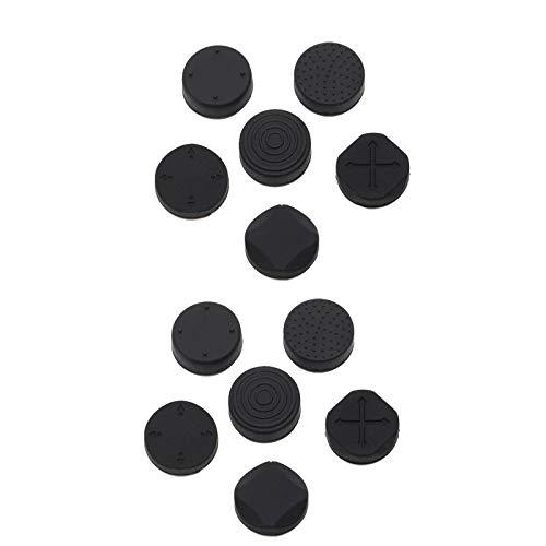 OTOTEC - Empuñaduras para Pulgar para Sony PS Vita 1000 y 2000 Slim (12 Unidades, Silicona), Color Negro