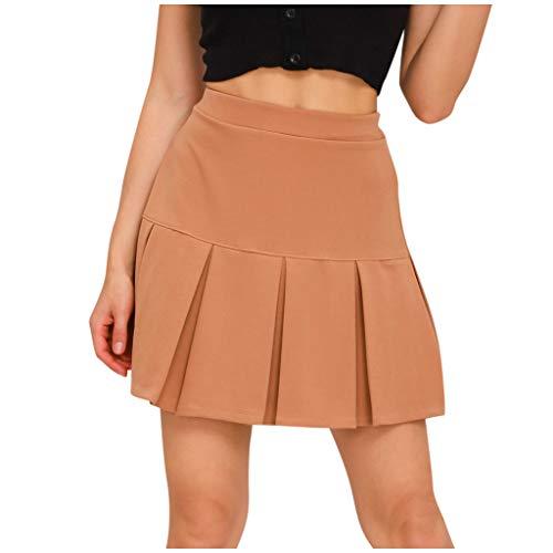 AILIEE Falda media de un solo color, cintura alta, plegada, patinadora, tenis, escuela, falda corta de una línea con pantalones de protección, minifaldas para mujeres, niñas y mujeres #4 caqui. M