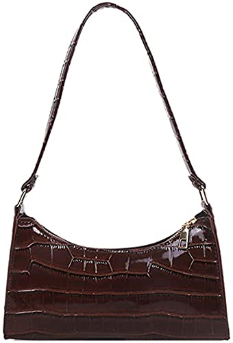 MRZJ shoulder bags, handbags, clutches, wallets under the arms, shoulder bags, all-match shoulder bag for women's handbags, made of powder leather with crocodile pattern DarkBrown
