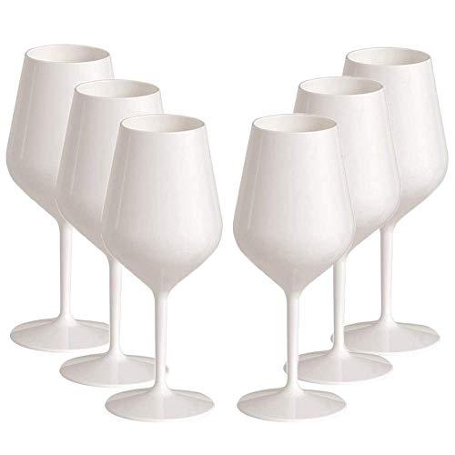 TUNDRA ICE INTERNATIONAL Verre à vin 6 pièces 47 cl en Tritan® (plastique rigide sans Bpa), 100% Italian Design Verres à vin, incassables, réutilisables et lavables au lave-vaisselle, blanc