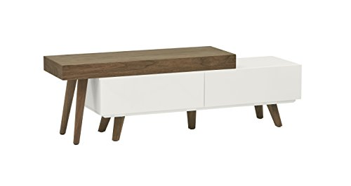 Amazon Brand – Rivet District Mid-Century Expandable TV Media Console, Walnut and White Lacquer