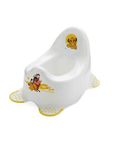 Aldi - Vasino per bambini, unisex, motivo: Re Leone, con piedini di sicurezza, colore: bianco con dettagli gialli