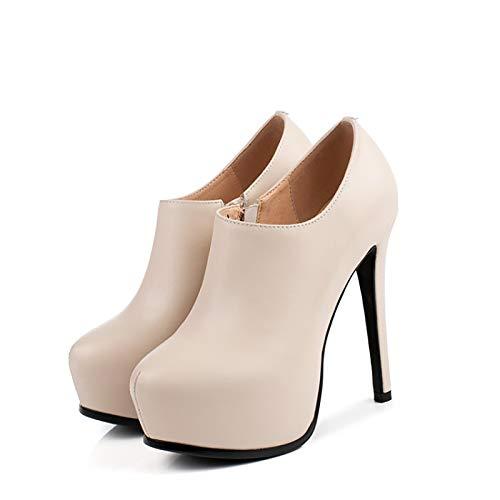 RHSMY Tacones altos para mujer, 5.1 pulgadas señaladas femeninas Sexy zapatos individuales, (deslizamiento) zapatos Asakuchi para mujer suela de tendón (34-41EU) (37 UE, blanquecino)