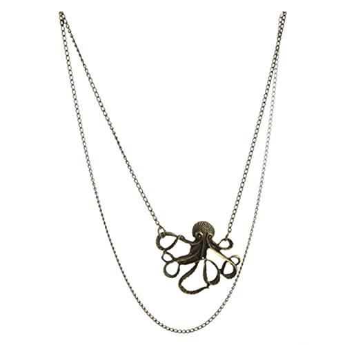 Nueva oferta Colgante de pulpo vintage Collar de cadena larga Nuevos accesorios de boda Collar de festival femenino Regalo versátil - Bronce