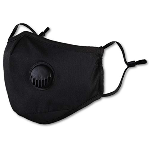 Reusable and Washable Cloth Cotton Face Mask Valve With Carbon Filter - Black