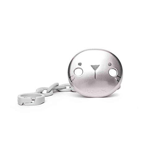 Suavinex - Broche Premium de Chupetes para Bebés +0 Meses, Broche Joya Efecto Metalizado Mate, Con Nueva Placa Más Pequeña, 0% Bpa, Color Gris