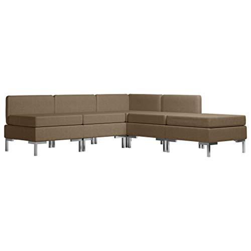vidaXL Sofagarnitur 5-TLG. Stoffsofa Loungesofa Couch Sofa Polstersofa Couchgarnitur Polstergarnitur Sitzmöbel Ecksofa Mittelsofa Fußhocker Stoff Braun