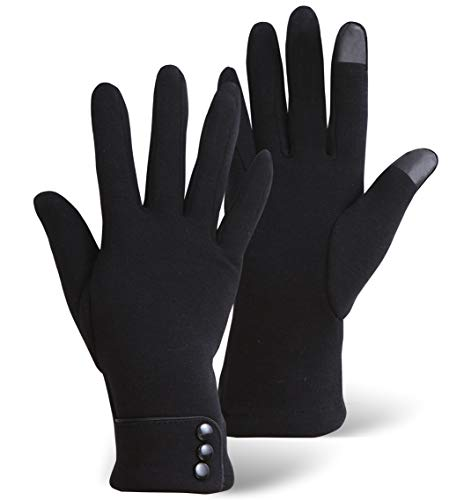 Womens Winter Touch Screen Gloves - Warm & Lightweight Touchscreen Glove Liners for Texting, Driving & Social Media Browsing - Ladies Cold Weather Black Thermal Hand Gloves for The Tech Savvy & Chic