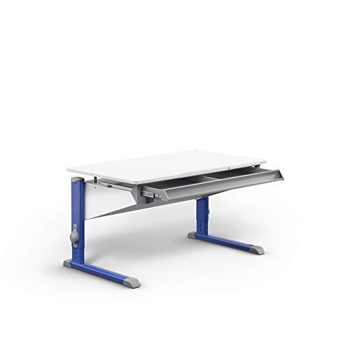 moll Bandit Füße Blau mit Schublade Kinderschreibtisch höhenverstellbar, Holzwerkstoff