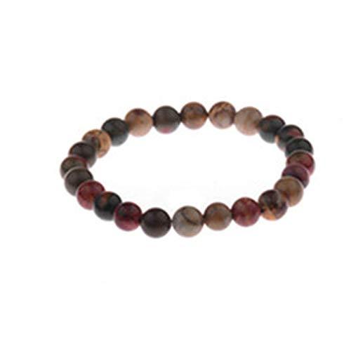 SonMo Armband Herren Perlen Armbänder Lava Stein Natur Stein Armbänder Perlenarmband mit Naturstein Roter Kaffee mit Einstellbar Verschluss