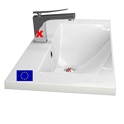 Einbau-Waschbecken 80x35x14,1cm eckig   80cm Einbau-Waschtisch zum einlassen in eine Platte   Material: hochwertiges Mineralguss   Qualität MADE IN EU