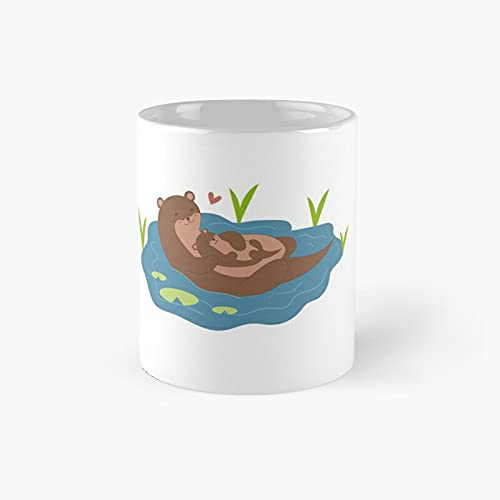 Mother's Day Otter Classic Mug - Gift The Office 11 Ounces Funny White Coffee Mugs-nilinkep