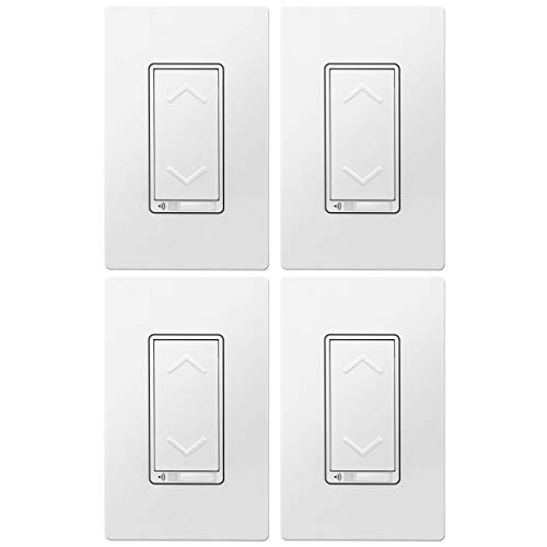 TOPGREENER Smart Wi-Fi Dimmer Switch, Neutral Wire, Hub Required, Single Pole, Work with Alexa and Google Assistant, UL Listed, TGWF500D 4 Pack, White