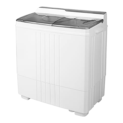 Portable Washing Machine, Compact Twin Tub Portable Mini Washing Machine, 20 LBS Washer and Dryer Combo with Soaking Function, Semi-Automatic for Apartment, Dorms, RVs, Camping (White & Gray)…