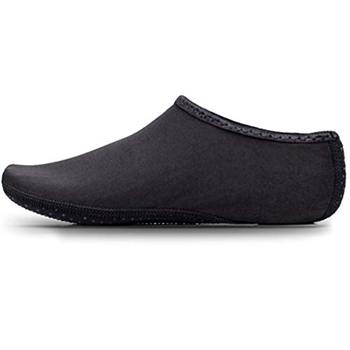 JIASUQI Womens Mens Lightweight Barefoot Quick-Dry Water Shoes Aqua Socks for Beach Pool Surf Gym Black, UK 5/6.5, tag XL