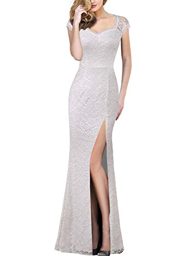 VFSHOW Womens Off-White Ivory Floral Lace Sweetheart Neckline Keyhole Back High Split Formal Evening Wedding Prom Party Maxi Long Dress 3782 WHT 3XL
