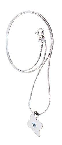 Hobra-gouden zilveren ketting 925 slangenketting massief met hanger zirkonia blauw halsketting collier