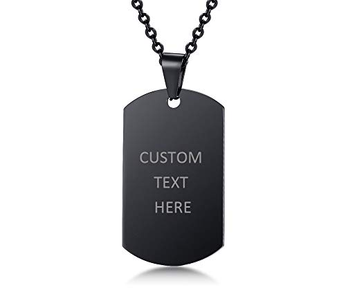 VNOX Black Plated Stainless Steel Name Engraved Customised Blank Dog Tag Pendant Necklace Personalised,Free Chain