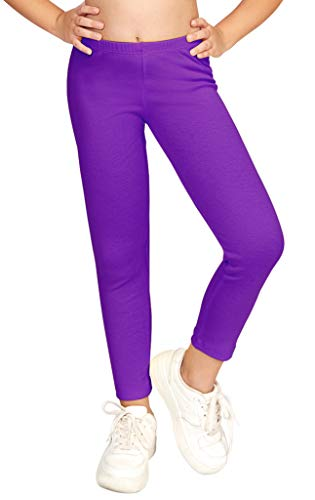CAOMP Girls'%100 Organic Cotton Leggings for School or Play (3-4, Purple)