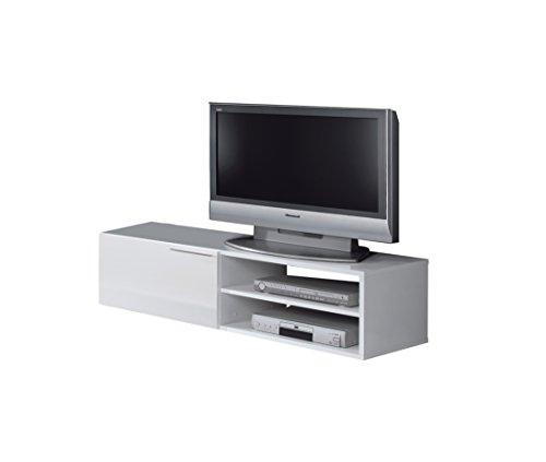 Loungitude - Meuble TV 1 porte battante et 2 niches de rangement L130 cm - Blanc brillant