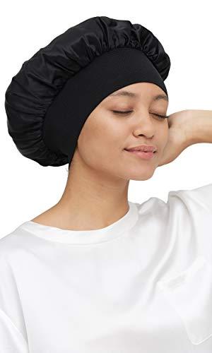 Mommesilk Seide Schlafmütze 1 STK Damen mit Langen Haaren Weiche Nachtmütze mit breitem Gummiband für Schlafen/Krebs/Chemo/Haar-Verlust Verpackung MEHRWEG - Schwarz