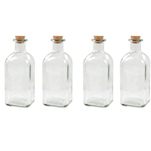 Pack de 4 botellas de cristal de 700 ml, con corcho, de 21 x 7 x 7 cm, con diseño tradicional, ideal para el hogar u hostelería. Set de 4 recipientes para almacenar líquidos, con forma cuadrad