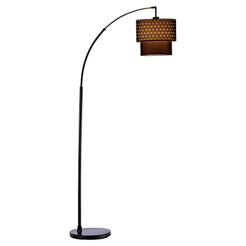 Adesso 3029-01 Gala Arc Lamp with, Smart Outlet Compatible, 66'-71', Black Shade