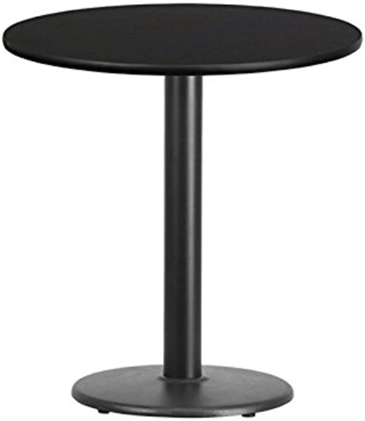 BOWERY HILL 24 Round Restaurant Dining Table In Black