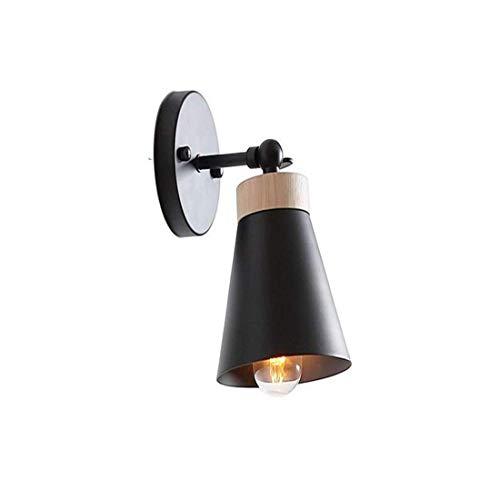 MOZUSA Lámpara de cabecera montado en la Pared Luces de la Seguridad Sólido decoración de Madera de Alto Brillo E27 Apliques de Pared de luz for ala del balcón Corredor (Color: Negro) Luz de Pared de