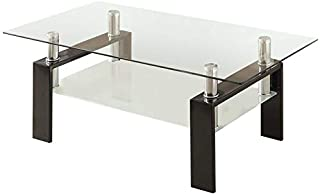 """BOWERY HILL 48"""" Glass Top Contemporary Coffee Table in Black and Chrome"""