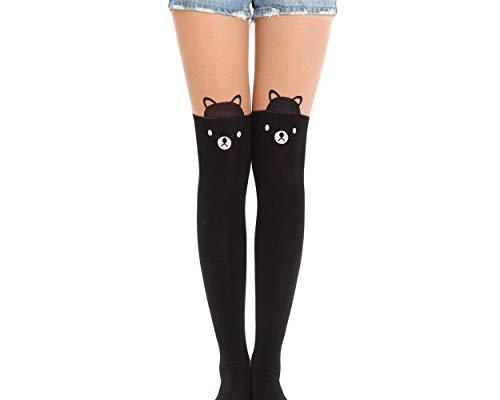 SCSpecial medias de Legging del oso del oso para las muchachas adolescentes pantimedias de estilo japonés sobre la rodilla calcetines para mujeres medias de muslo alta medias lindas de la medias