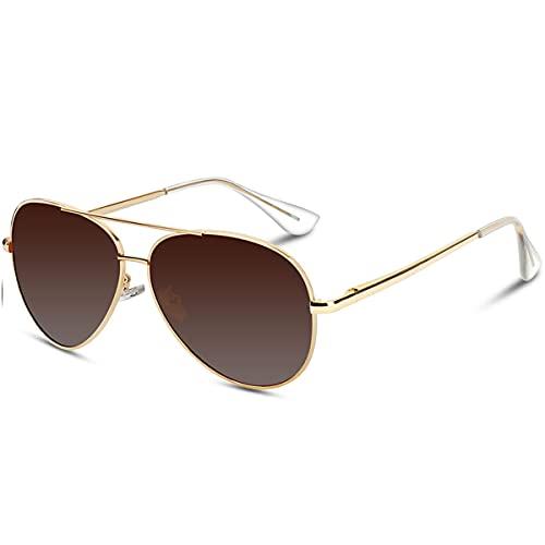VVA Gafas de sol Hombre Polarizadas Aviador Hombres Aviador Gafas de sol Polarizadas Hombre Unisex Protección UV400 por V101(Marrón/Dorado)