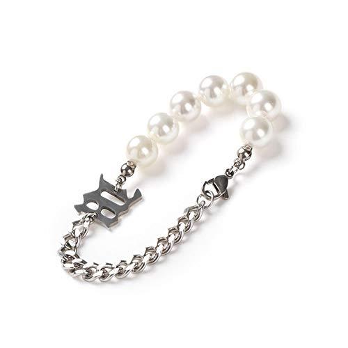 1 pulsera para mujer, pulsera de perlas de acero de titanio, para accesorios de mujer