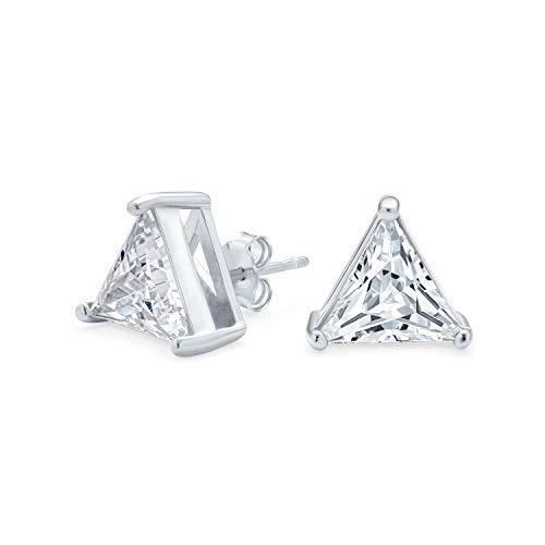 5CT triángulo en forma de zirconia cúbica conjunto conjunto trillón corte CZ Stud pendientes para hombres mujeres 925 plata de ley
