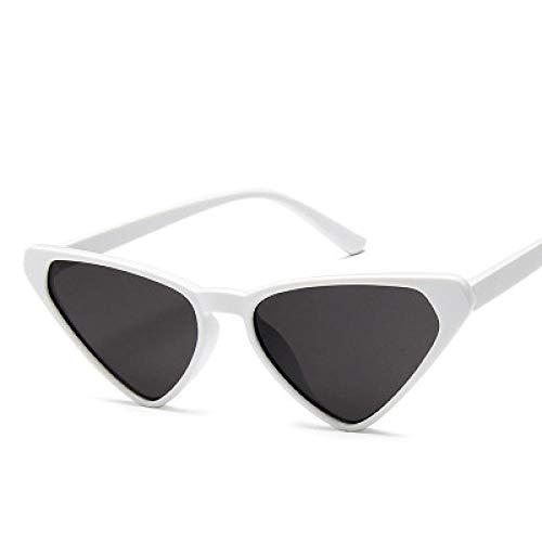DLSM Triángulo Gafas de Sol Mujeres Gato Negro Gafas de Sol Classic Retro Candy Colors Street Shot Gafas Apto para Golf Playa Golf-Gris Blanco