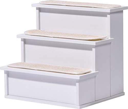 dobar Kleine Katzentreppe Steps, Katzenmöbel mit Kratzflächen, 38 x 33 x 35 cm, weiß