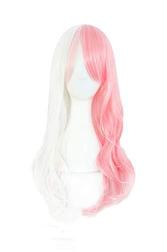 MapofBeauty Beautiful Long Wavy Harajuku Style Cosplay Wig (White/Pink)