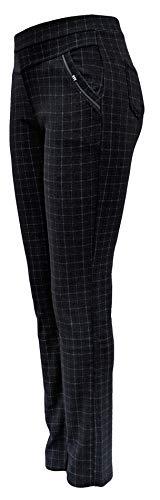Sockenhimmel leichte Winterhose Damen gefüttert mit Polarfleece Stoffhose mit Gummibund Karo-Hose (Grau, 42-44)