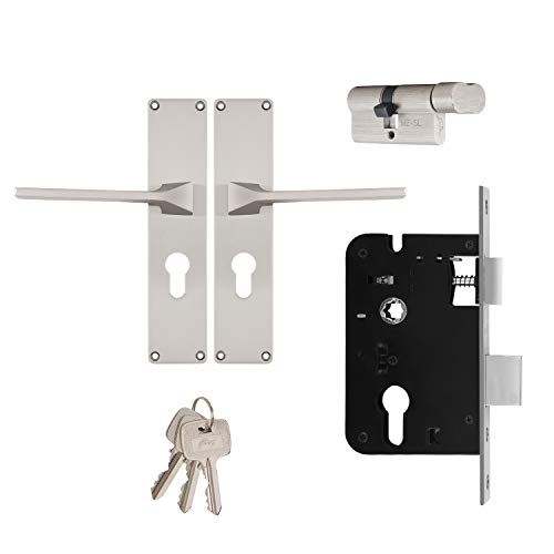 Godrej Locking Solutions and Systems Locks NEH 16-200 mm Door Handle with Lock Set 1CK Satin Steel