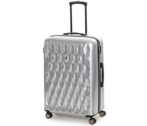 Rock Diamond 78cm Hardshell 8 Wheel Spinner Suitcase Silver with Rose Gold