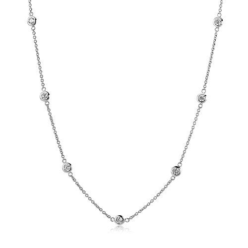 Miore - Collana da donna in argento Sterling 925 con zirconi taglio brillante 45 cm