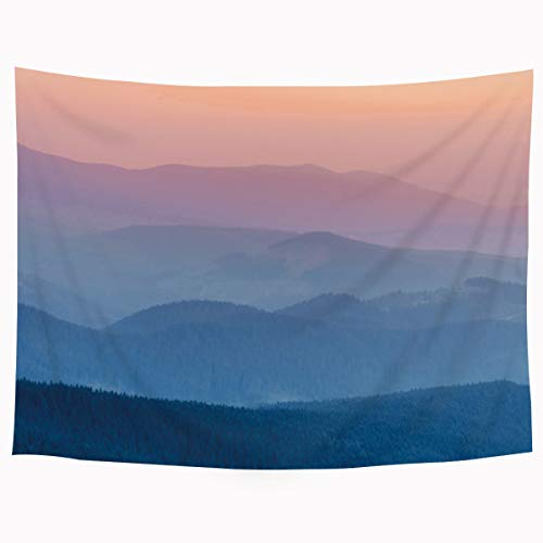 SVBright Gray Hazy Pastel Sky in Watercolor Tapestry 51Hx59W Inch Blue Pink Mountain Misty Landscape Scene Art Wall Hanging Bedroom Living Room Dorm Decor Fabric