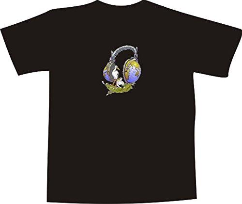 Black Dragon - T-Shirt E955 - Farbe nach Wahl - Größe L - Logo - Grafik - Comic Design - Storchennest mit Störchen und Erdball Kopfhörern - Funshirt Mann Frau Party Fasching Geschenk Arbeit - bedruckt