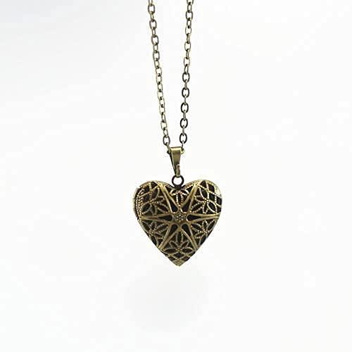 CJSZSD 2 collares con colgante de corazón con difusor de aceite esencial, collar y colgante de perfume