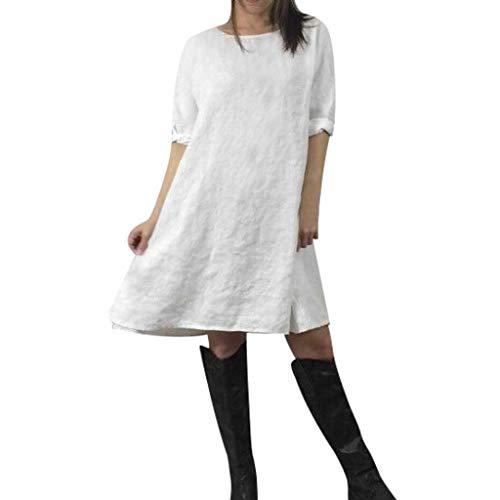 Lialbert Vintage Freizeitkleid Dame Sommerkleid Leinenkleid Boho Mit-Rundhalsausschnitt Swing-Kleid Kurzes Rock 3/4-ÄRmeln Kleider A-Linie Weiß