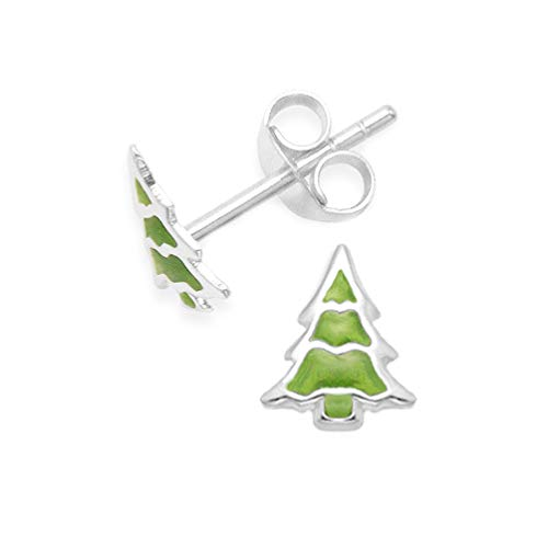 Heather Needham Sterling Silver Christmas Tree Earrings - Green enamel Christmas tree studs - Size: 9mm x 8mm 5571 - in Christmas box B41/XMAS 5571
