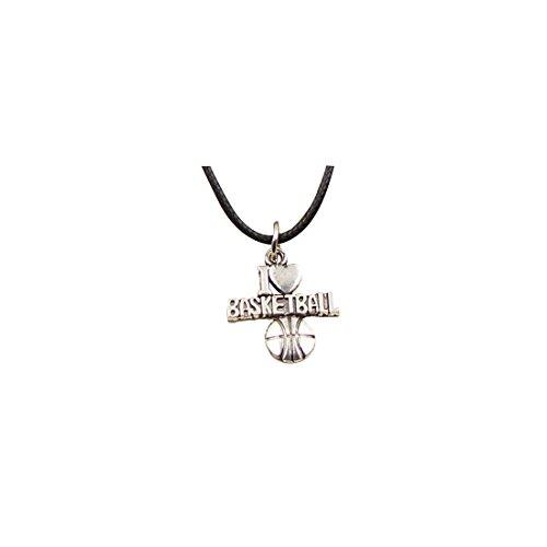 Collar de plata tibetana con colgante de I love baloncesto y cadena de cuero negro