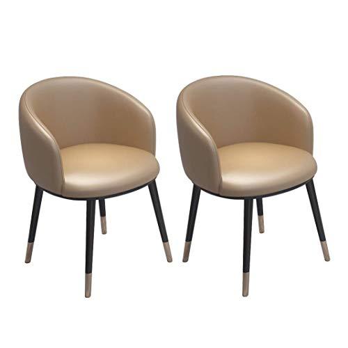 N/Z Tägliche Ausrüstung Ledersessel PU-Sofa Schwammkissen Esszimmerstuhl Sessel mit hoher Rückenlehne Stilvoller moderner Lounge-Hocker Make-up-Theke Robuster Stuhl für Erwachsene (Farbe: G Menge: 2)
