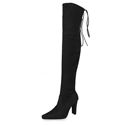 Premier Standard - Women's Over The Knee Boot - Sexy Over The Knee Pullon Boot - Trendy Low Block Heel Shoe - Comfortable Easy Heel Boot Black Size 5.5