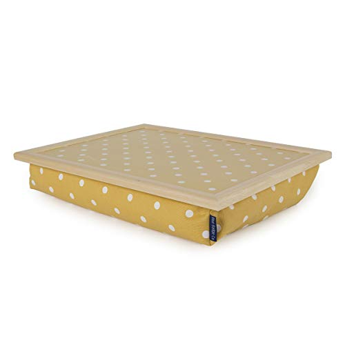 Blue Badge Co Canary Yellow Spotty Lap Tray with Cushion, TV Dinner Bean Bag Bottom Cushioned Laptray, Laptop Holder Bed Desk with Wipe-Clean Surface and Real Wood Frame, Moulds to Your Lap, 700 g